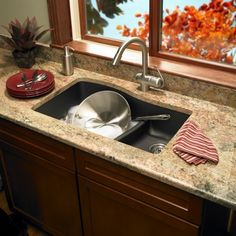 Swanstone Granite Large Small Double Bowl Undermount Kitchen Sink Espresso Pictured In Nero