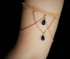 Gold Arm Band Bracelet Chain Cuff With Blue Crystals, Armlet, Boho Jewelry, Upper Arm Band: Gold wi