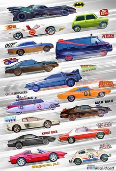 of the most iconic movies/series cars Movies Famous Movie Cars, Iconic Movies, 80s Movies, Action Movies, Ps Wallpaper, Car Posters, Car Drawings, Batmobile, Amazing Cars