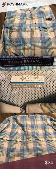 Long sleeved Columbia fishing shirt New XL fishing shirt, light colors keeps you cool on those long days on the water! Smoke free home. Columbia Shirts Casual Button Down Shirts