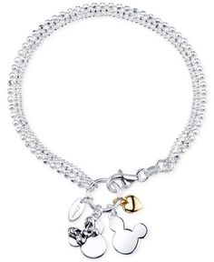 Disney Two-Tone Mickey and Minnie Mouse Charm Bracelet in Sterling Silver and 14k Gold-Plated Sterling Silver