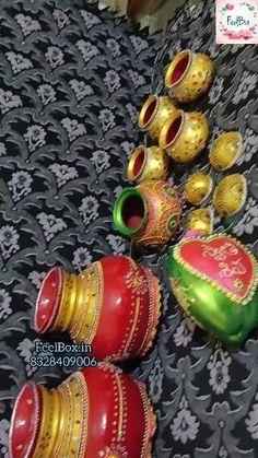 Barbie Decorations, Diy Diwali Decorations, Flower Decorations, Kalash Decoration, Thali Decoration Ideas, Desi Wedding Decor, Wedding Crafts, Bridal Gift Wrapping Ideas, Coconut Decoration