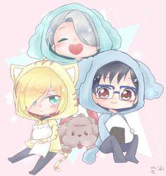 Viktor, Yuuri, Yurio, cute, chibi, jackets, cat, neko, dog, Makkachin, onigiri, rice ball; Yuri!!! on Ice