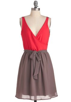 Twice as Lovely Dress - Mid-length, Red, Brown, Wrap, Tank top (2 thick straps)