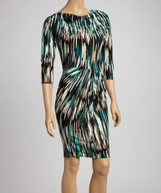 Take a look at this Green & Brown Abstract Ruched Sheath Dress by Avital on #zulily today!