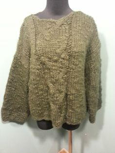 Ivan Grundhal Copenhagen Dark Olive Green Bulky Cable Knit Wool Sweater L $54 OBO Free Shipping!