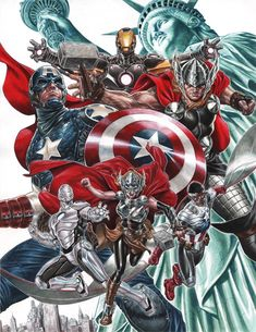 NYCC 2014 Marvel Poster (unlettered) - Captain America, Iron Man, Thor, Superior Iron Man, All New Thor, and All New Captain America by Mark Brooks