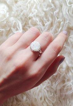 Faux Iridescent White Mermaid Druzy Ring