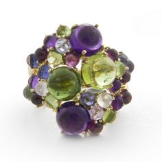 Dagny Stacking Ring in Amethyst & Green Tourmaline