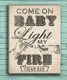 Custom Cigar Bar Sign as a Print or On Canvas. Customize colors for your Wedding