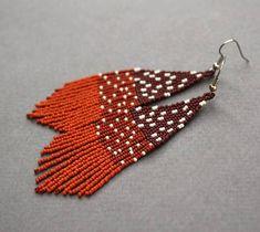Long brown seed bead earrings Unusual beaded fringe earrings Cute dangle earrings for women Unique m