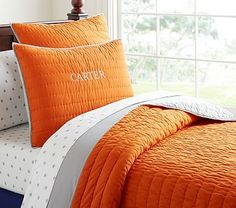 Bedding for the boys room. Branson Reversible Quilted Bedding #pbkids
