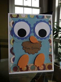 Punch art owl card