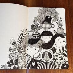 Pin by sushmitha paturi on sketch ideas in 2019 doodle art, illustration ar Inspiration Drawing, Sketchbook Inspiration, Moleskine, Zentangle, Fantasy Magic, Arte Sketchbook, Doodle Art Journals, Sketch Pad, Art Design