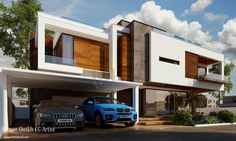 m Contemporary Residence by Galleria Designs (Renderings by Furqan Sheikh) Residence Architecture, House Architecture Styles, Residential Architecture, Architecture Design, Bungalow House Design, House Front Design, Modern House Design, Duplex House, Exterior Wall Design