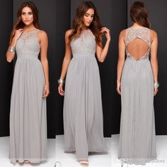 >> Click to Buy << Elegant Light Grey Long Lace Chiffon Bridesmaid Dresses Open Back 2016 Wedding Party Dresses vestido de festa de casamento #Affiliate