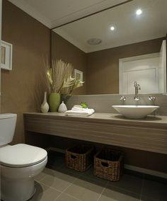 Grey bathroom floor tiles, large mirror Grey Bathroom Floor, Grey Bathrooms, Beautiful Bathrooms, Bathroom Flooring, Master Bedroom Redo, Splashback, Tile Design, Powder Room, Tile Floor