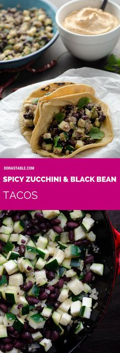 Spicy Zucchini and Black Bean Tacos. They are easy to make, protein packed, and delicious.