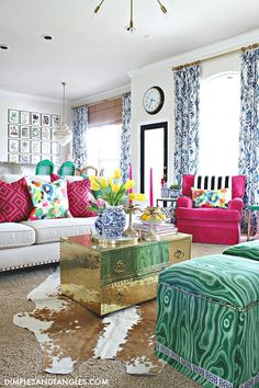 I've been staring at this photo trying to come up with a caption. 😂 But I hope you are all doing well! And enjoy this view of my Spring Living Room. Home Interior, Interior Design, Colourful Living Room, Spring Home, Home Decor Inspiration, House Colors, Home Remodeling, Living Room Decor, Family Room
