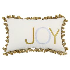 Lumbar pillow with a tasseled fringe border and embroidered typographic details. Made in the USA.  Product: PillowCo...