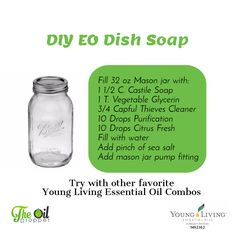 Young living oils Making your own DIY Dish Soap with essential oils is super easy. Knowing what goes Galaxy Slime, Essential Oils Cleaning, Essential Oil Uses, Young Living Oils, Young Living Essential Oils, Homemade Dish Soap, Diy Papier, Castile Soap, Natural Cleaning Products