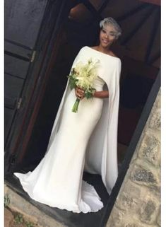 Wonderful Perfect Wedding Dress For The Bride Ideas. Ineffable Perfect Wedding Dress For The Bride Ideas. African Wedding Dress, Black Wedding Dresses, Bridal Dresses, Wedding Dress Cape, Prom Dresses, Cape Dress, Plain Wedding Dress, Bridal Cape, Evening Wedding Dresses