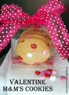 Pink Polka Dot Creations:  M&M's Valentine Cookies.  These are just a little bit crispy on the outside and chewy on the inside. A perfect combination!