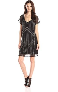 VELVET BY GRAHAM & SPENCER Women's Chiffon with Seed Beads Dress, Black, Small ❤ VELVET BY GRAHAM & SPENCER Women's Collection