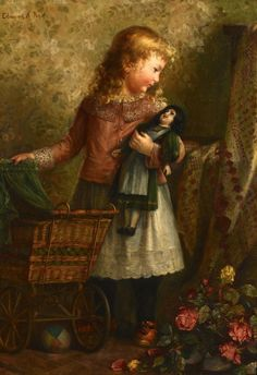 Edmund Adler Rode (Austria, oil on canvas genre scene of a child standing next to a doll carriage and gazing at a bisque doll. A ball and bouquet of roses are at her feet, while a quilt drapes a nearby bedpost, all against a backdrop of floral wallpaper. Paintings I Love, Beautiful Paintings, Old Dolls, Antique Dolls, Doll Painting, Norman Rockwell, Art Themes, Vintage Children, Children Toys