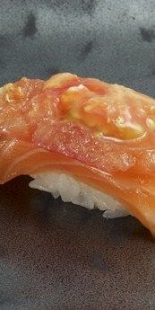 Sushi of Gari, NYC - The salmon with roasted tomato (pictured) is one of the simplest, best tasting pieces I've ever had. Menu Sushi, Nyc Restaurants, Roasted Tomatoes, Cravings, Seafood, Dinner, Eat, Ethnic Recipes, Salmon