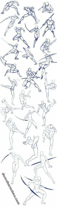 Battle/action poses by Antarija on DeviantArt - Body positions, weapons, fighting, swords; How to Draw Manga/Anime - Drawing Body Poses, Gesture Drawing, Anatomy Drawing, Drawing Reference Poses, Manga Drawing, Drawing Tips, Drawing Ideas, Drawing Techniques, Hand Reference