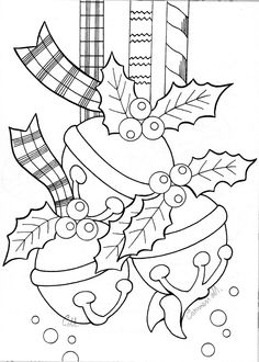Christmas Bells embroidery or coloring design