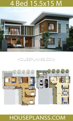 House Plans Idea with 4 bedrooms - House Plans Sam Sims House Plans, House Layout Plans, Dream House Plans, House Layouts, House Floor Plans, Minimalist House Design, Modern House Design, Minimalist Interior, Minimalist Bedroom