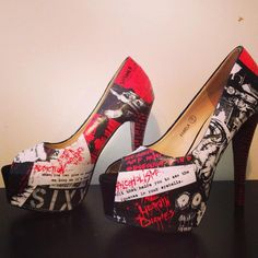 Nikki Sixx Motley Crue heels by customshoegeekness on Etsy, £42.00
