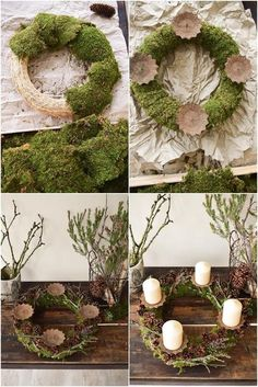 Instructions Advent wreath of moss and cones. Just do it yourself step by step, . Einfach selbermachen Schritt für Sc…, Instructions Advent wreath of moss and cones. Christmas Advent Wreath, Noel Christmas, Christmas Crafts, Christmas Decorations, Xmas, Holiday Decor, Advent Wreaths, Christmas Stockings, Moss Wreath
