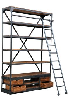 Giant industrial shelving unit with ladder Rockett St George--I happened onto this site and now almost every piece of furniture is my favorite! I would repine this whole site!!