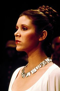 Björn Weckström for Lapponia Jewelry (FI), Planetoid Valleys sterling silver necklace, part of the Space Silver collection designed in the late 1960s.  Princess Leia (Carrie Fisher) wearing Planetoid Valleys necklace by Lapponia Jewelry.  Photo © Lucasfilm Ltd #StarWars #Finland | finlandjewelry.com