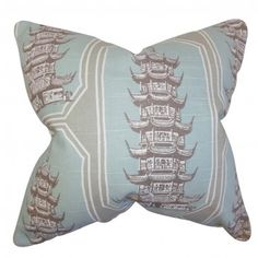 "Create an Eastern-inspired theme to your home with this unique throw pillow. This accent piece features a pagoda pattern in shades of gray and blue. With its cool tone, this 18"" pillow is perfect for your living room or bedroom. Made with a blend of high-quality materials: 55% cotton and 45% linen. $55.00 #pillows #homedecor #tosspillow #graphic #graphicpillow"