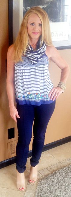 CAbi Spring 2014 Harlow Cami with CAbi Spring 2014 Blaine Tube (scarf) & CAbi Spring 2014 Newport Pant - church