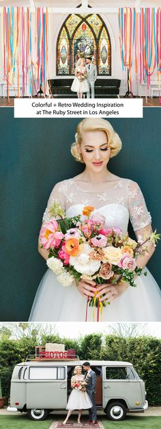retro wedding hair Colorful + Retro Wedding Inspiration at The Ruby Street in Los Angeles Wedding Reception Design, Wedding Designs, Wedding Colors, Wedding Styles, Wedding Ceremony, Wedding Venues, Wedding Details, Elegant Wedding Hair, Whimsical Wedding