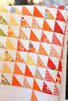 Diary of a Quilter - a quilt blog: Half Square Spectrum Quilt. Half square triangle quilt. So easy and looks so good.
