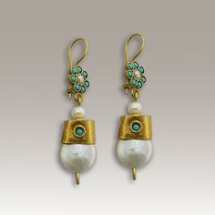 Dangle gold earrings - Pearl and turquoise gemstone earrings, 24k gold plated earrings - Just u and me.