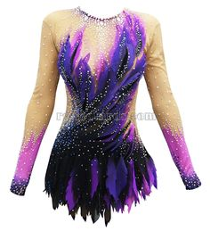 Jaklin Gymnastics Leotard The leotard «Jaklin» is incredibly bright, fashionable and unusual. The lilac feather with the placer of crystals combined with the black net is a perfect mixture for victory. The leotard «Jaklin» will help to put yourself together in an important moment and will turn to a bird of a high gymnastics flight. #rhythmicgymnastics #gimnastica #leotard