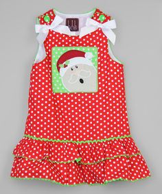 Look at this #zulilyfind! Red & White Santa Tiered Jumper - Infant, Toddler & Girls #zulilyfinds