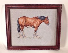 Vintage Clydesdale Horse Needlepoint Embroidery by BaileysBoudoir, $19.00