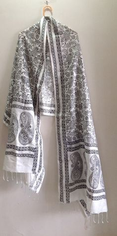Silk Scarf Block print Stole Black And White by Straightfromheart