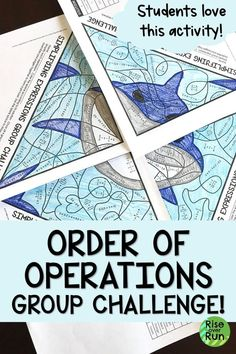 Students love this order of operations group activity! It includes fractions and decimals for a chal - Mathe Ideen 2020 Seventh Grade Math, Fifth Grade Math, Sixth Grade, Third Grade, Math Teacher, Math Classroom, Teaching Math, Classroom Ideas, Math Resources