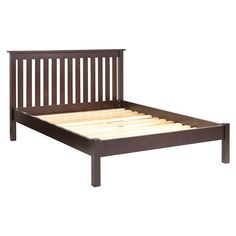 Simple Espresso Full Bed Headboard Made Of Wood Frame