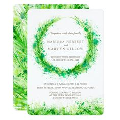 NEW design modern abstract splashed watercolor greenery spring wreath art wedding invitations painted by Sarah Trett for www.mylittleedenweddings.com #greenerywedding #springwedding #greenwedding