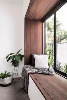 Awesome This modern bedroom has a wood framed window seat that overlooks the garden. The post This modern bedroom has a wood framed window seat that overlooks the garden…. Living Room Interior, Home Decor Bedroom, Living Rooms, Apartment Interior, Design Bedroom, Apartment Plants, Bedroom Decor, Interior Windows, Bedroom Plants